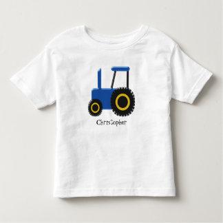 O trator azul apenas adiciona o nome camiseta infantil