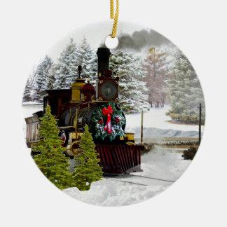 O trem do Natal está vindo ao ornamento da cidade