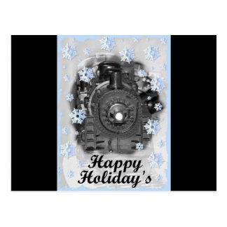 O trem modelo do feriado feliz cartão postal