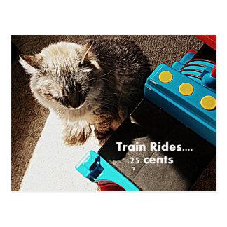 O trem monta o cartão do gato