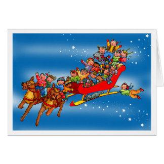 O trenó das renas do Natal caçoa o cartão