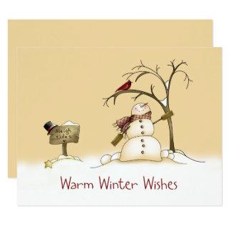 O trenó vermelho do pássaro do boneco de neve convite 10.79 x 13.97cm