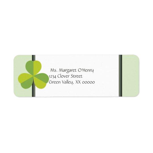O trevo dois do trevo tonificou o verde etiqueta endereço de retorno