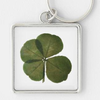 O trevo real de 4 folhas de St Patrick obtem Chaveiro Quadrado Na Cor Prata