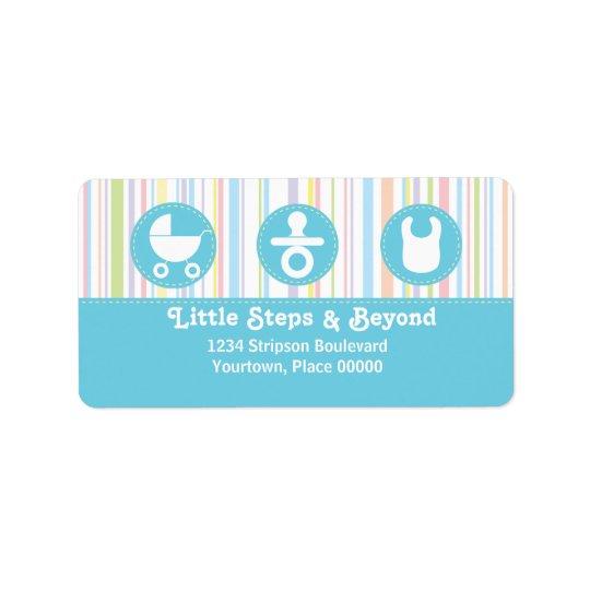 O trio do ícone do bebê listra o endereço azul etiqueta de endereço