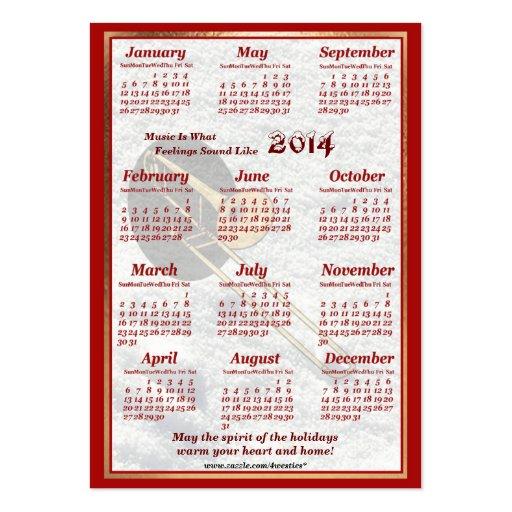 O Trombone 2014 deixou o calendário do bolso de ar Cartões De Visitas