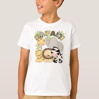 o tshirt bonito das crianças com os animais da camiseta