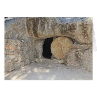 O túmulo vazio do Jesus Cristo no cartão vazio