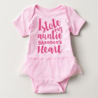 O tutu cor-de-rosa personalizado roubou meu body para bebê