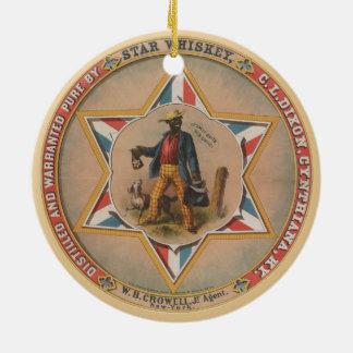 O uísque da estrela destilado e justificou puro ornamento de cerâmica redondo