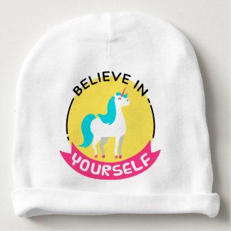 """O unicórnio """"acredita em o senhor mesmo"""" o desenho gorro para bebê"""