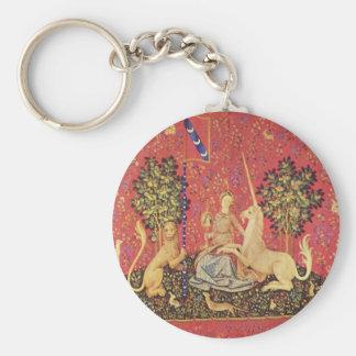 O unicórnio e a imagem medieval nova da tapeçaria chaveiro