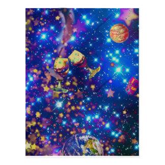O universo e os planetas comemoram a vida com um cartão postal
