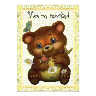 O urso da borboleta convida convite 12.7 x 17.78cm