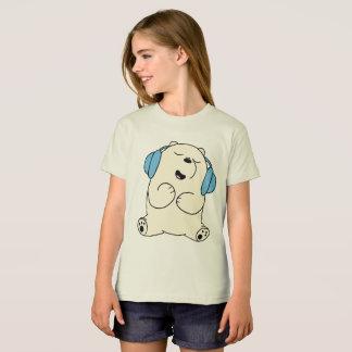 O urso da camisa da menina T relaxa