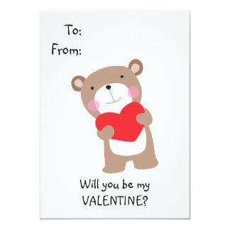 O urso de ursinho bonito caçoa namorados convite 11.30 x 15.87cm