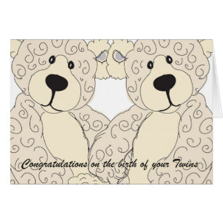 O urso de ursinho dos parabéns dos gêmeos desnata cartão comemorativo
