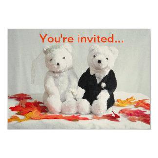 O urso do outono convida convite 8.89 x 12.7cm