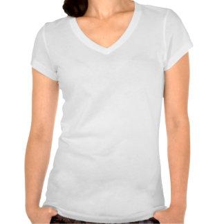 O V-Pescoço branco das mulheres do exército de Sch Tshirts
