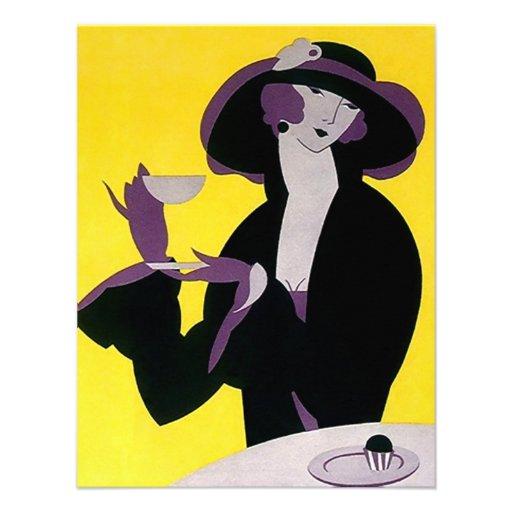 O vazio à moda do ~ da senhora chá alto do art dec convites personalizado