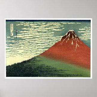 """O vento sul de Hokusai, céu claro ou """"Fuji vermelh Posteres"""