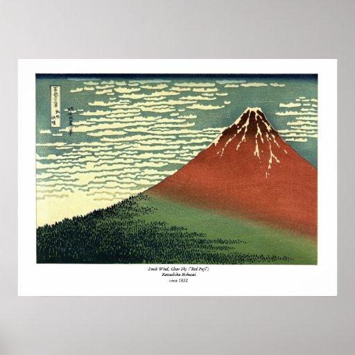 """O vento sul de Hokusai, céu claro ou """"Fuji vermelh Poster"""