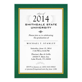 O verde a festa de formatura formal do ouro conv convite personalizado
