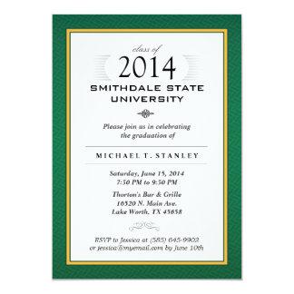 O verde & a festa de formatura formal do ouro convite 12.7 x 17.78cm