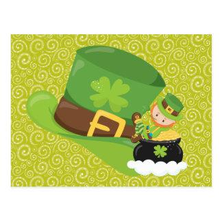 O verde amarelo roda cartão verde do Leprechaun do