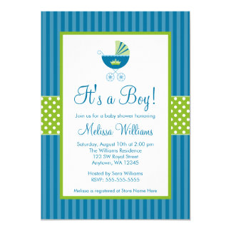 O verde azul do príncipe Carruagem listra o chá de Convite 12.7 X 17.78cm