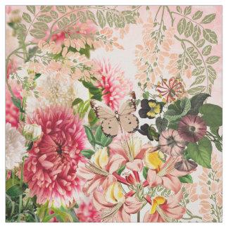 O verde cor-de-rosa do vintage floresce a tecido
