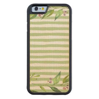 O verde corajoso da arte da aguarela listra o capa de carvalho bumper para iPhone 6