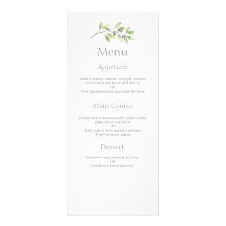 O verde deixa o menu do comensal de casamento