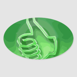 O verde gosta adesivo oval