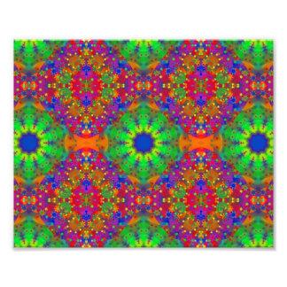 O verde limão alaranjado e o roxo Stars a mandala Impressão De Foto