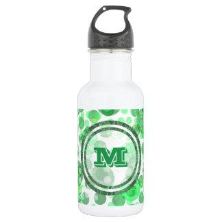 O verde mancha o monograma garrafa de aço inoxidável