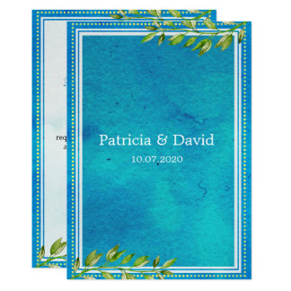 O verde na moda deixa o casamento azul da aguarela convite 12.7 x 17.78cm