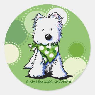 O verde pontilha o cão de Westie Adesivos Em Formato Redondos