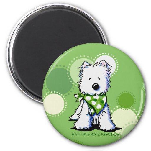 O verde pontilha o cão de Westie Imãs De Geladeira