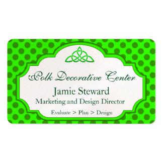 O verde protege o fundo das bolinhas, molde do cartão de visita