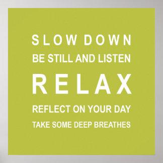 O verde relaxa o poster inspirador pôster