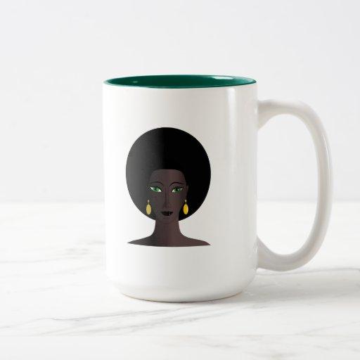 O verde retro do Afro dos anos 70 Eyed a figura do Canecas