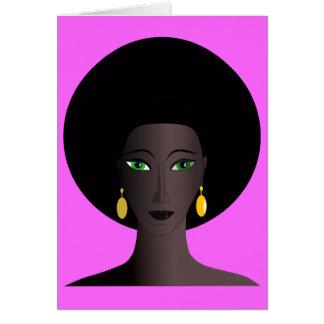 O verde retro do Afro dos anos 70 Eyed a figura do Cartão Comemorativo