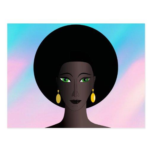 O verde retro do Afro dos anos 70 Eyed a figura do Cartao Postal