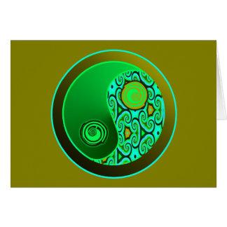 O verde roda Yin Yang Cartão Comemorativo