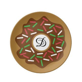 O verde vermelho da rosquinha do Natal de Kawaii Louça De Jantar
