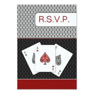 o vermelho 3 aces os cartões do rsvp do casamento
