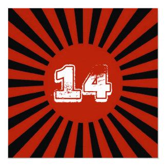 O vermelho, a festa de aniversário adolescente do convite quadrado 13.35 x 13.35cm