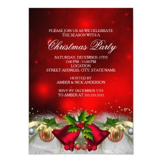 O vermelho & a festa de Natal dos Baubles do Convite 12.7 X 17.78cm