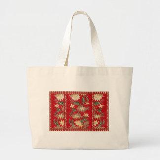 O vermelho chinês oriental acena texturas macios sacola tote jumbo